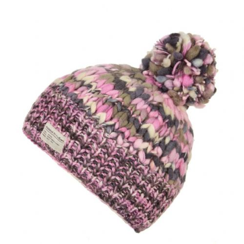 Bobble Hat - Kusan - Pink & Grey Uneven Yarn